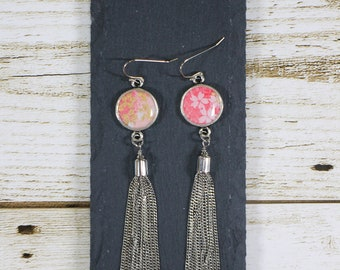 Tassel earrings, Metal tassel earrings, Resin earrings, Bezel earrings, Cherry Blossom earrings, Sakura earrings, Japanese earrings