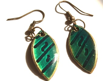 Green Enamel Teardrop Earrings
