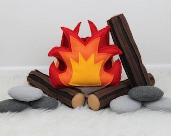 Campfire Play Set, Felt Campfire, Pretend Fire, Felt Fire, Fire Pit, Light Up Fire, Bark Logs, Rocks, Teepee Play, Tents, Camping
