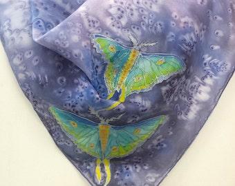 Hand Painted Original Silk Scarf  - Luna Moths - Kauai  Hawaiian - Square Silk Scarf - Silk Scarves - Birthday Gifts for Her - Butterflies