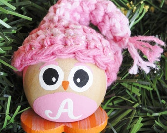 Personalized A Owl Christmas Tree Ornament - Pink  Baby Handpainted Holiday Decoration - Hand-crocheted Hat By Distinctly Daisy