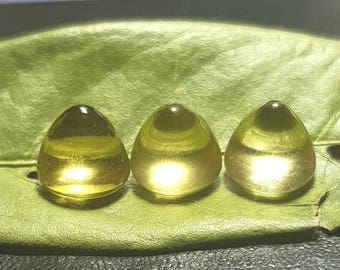 One Gold Green Citrine bullet soft top gemtone 11mm wide 10mm tall