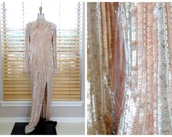 RIAZEE Hand Beaded Gown / Heavily Embellished Sequined Dress / Blush Pink Sequin Gown