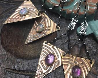 Mixed Metal Delight earrings, Amethyst or Opal option, ThePurpleLilyDesigns
