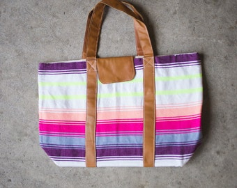 Bright Summer Stripe Natural Leather Large Tote