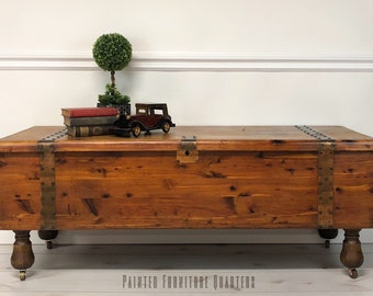 Marvelous SOLD   Gorgeous Antique Cedar Chest Trunk Coffee Table On Casters