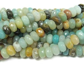Amazonite Faceted Rondelle Gemstone Beads