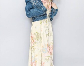 Vintage 1990's Peachy Yellow Floral Print Maxi Dress
