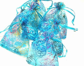 4 pockets blue MULTICOLOR 9.5 X 7 cm ORGANZA gift bags.