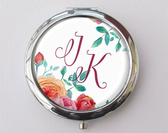 Personalized Compact Mirror, Bridesmaid Gift, Floral Compact