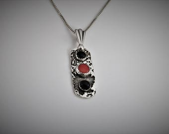 """Item 6036 - """"Nightime Sea Garden""""  Handcrafted, sculpted and carved  Unique One of a Kind 999 Fine Silver Pendant with Red Coral and Onyx"""