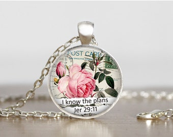 Handmade Pendant Necklace Rose Necklace For I know the plans Jeremiah 29:11 Inspirational Glass Jewelry Motivational Gift Spiritual Jewelry