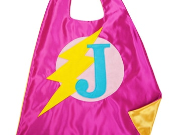 Pink and Yellow SUPERHERO CAPE . Free Mask - Girl Superhero . Girls Custom Cape . Superhero Party Cape . Quick Turnaround