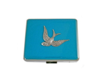 Swallow 8 day Weekly Pill Box Inlaid in Hand Painted Turquoise Opaque Enamel Neo Victorian Flying Bird Custom Colors and Personalized Option