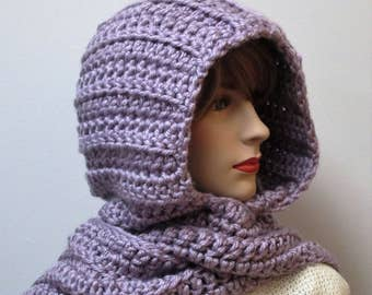 Light Lavender Purple Hooded Scarf, Chunky Crochet Scarf, Purple Knit Scarf, Warm Crochet Scarf, Large Scarf, Elizabeth B5-053