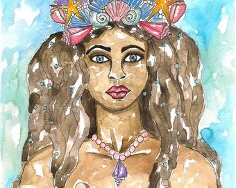 Goddess Yemaya Art Print Goddess Wall Art Pagan Orisha Mermaid Fantasy Sacred Divine Feminine Spiritual Altar