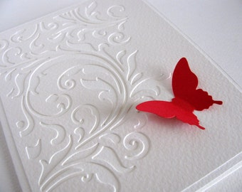 Swirly Cut Design Layer on Creamy Ivory Card with Single Butterfly in YOUR Choice of Color / Option to Add Pearl Accent Accents