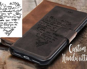 CUSTOM HANDWRITING iPhone 7 case leather iPhone 8 case leather  iPhone 8 plus leather iPhone x case leather personalised iPhone 6 Plus Case