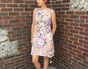 vintage 1960s floral mod Betty Draper dress