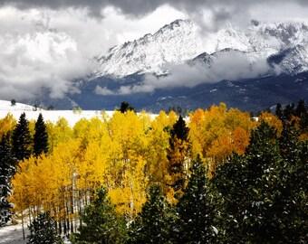Colorado art, Pikes Peak America's Mountain, fall photo, snow aspen pine trees, cabin decor, log home decor, living room wall art, aspens
