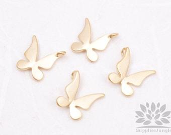 P434-MG// Matt Gold Plated Butterfly Pendant, 2pcs