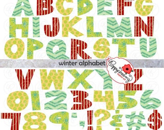 Winter Alphabet Clip Art Pack (300 dpi) Digital Images (transparent png) Card Making Digital Scrapbook Letters Numbers