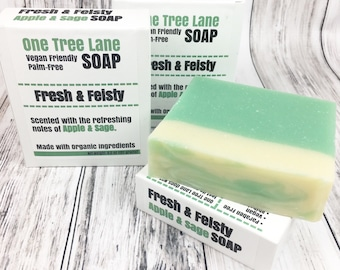 Organic Apple Sage Soap • Fresh & Feisty Palm Free Soap • Vegan •  Fresh Invigorating Soap •