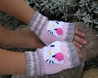 Sale, Fingerless Gloves, Wrist warmers, Kids Mittens, Cute Gloves, Arm Warmers, Cotton, Toddler Gloves, Pink and Grey, Hello Kitty