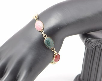 14k Yellow Gold Scarab Bracelet with Multi Colored Stones, Circa 1960