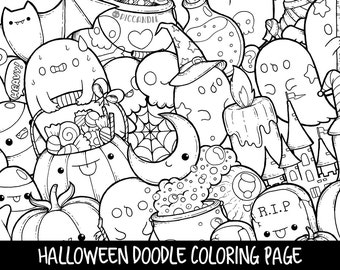 Halloween Doodle Coloring Page Printable | Cute/Kawaii Coloring Page for Kids and Adults