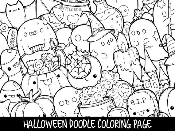Halloween Doodle Coloring Page Printable CuteKawaii