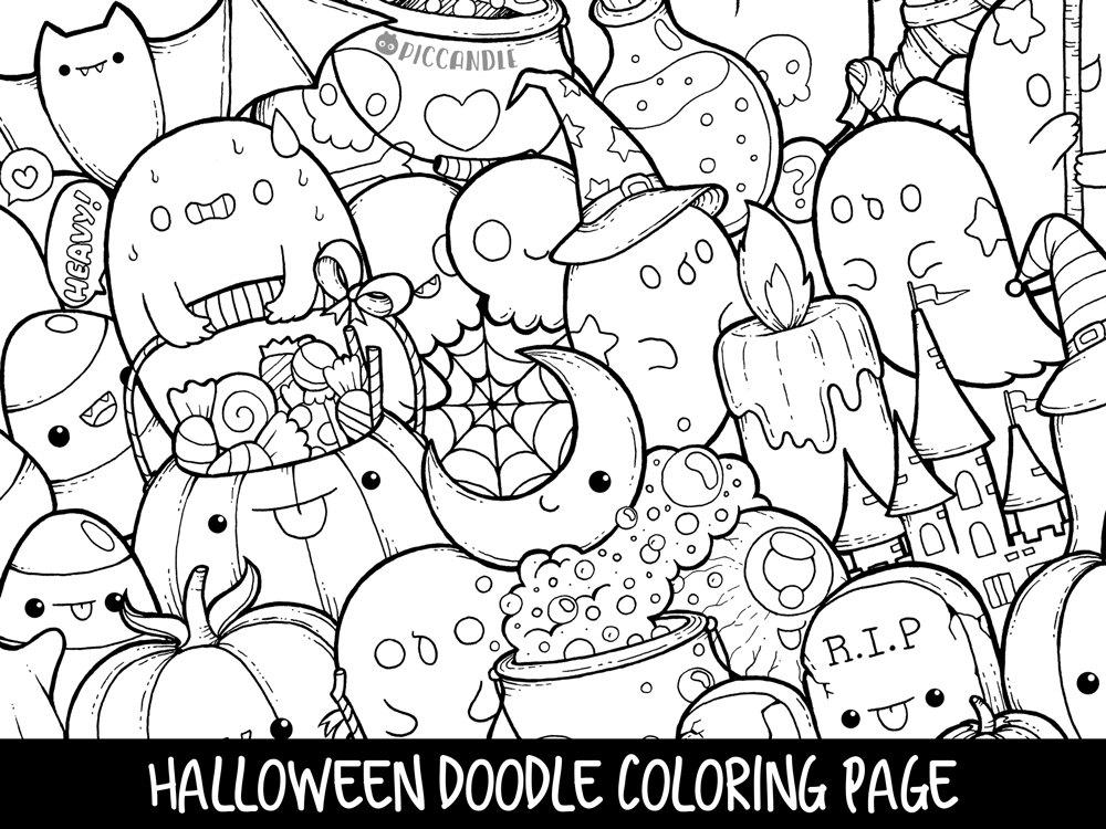 Halloween Doodle Coloring Page Printable Cute Kawaii