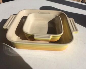 Le Crueset Yellow Ceramic Casserole Square Dishes Set Of 2
