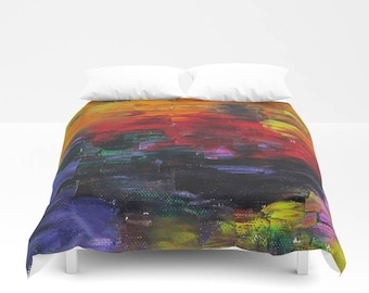 African Sunset Duvet Cover, Painting Abstract, Made to Order, Decorative, Bedding, Unique Design, Modern, Comforter Cover, Bedroom, Dorm