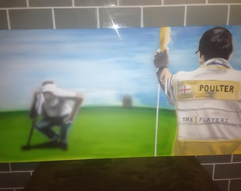 "Ian Poulter painting, Acrylic paint on canvas 18"" x 36"""