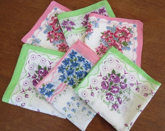 Vintage Hanky Lot - 6 Floral Handkerchiefs - Like New