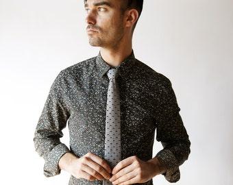 Chambray skinny tie, swiss dot tie, chambray necktie, denim necktie, navy blue tie, denim bow tie, freestyle bow tie, self tie, chambray