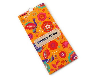 Notepad, things to do note pad, spiral bound notepad, shopping list, orange floral notepad, notes, ruled paper, lined paper, desk planner