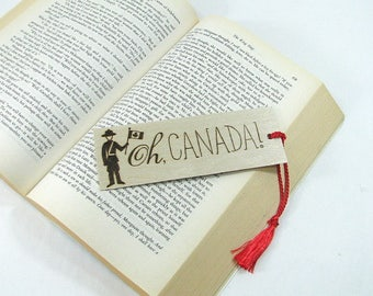 Wood Bookmark. Wood Pyrography. Canada. Mountie. RCMP. Maple Leaf. Canada Flag. Book Nerd.  Book Lover. Unique Bookmark. Book Bag. Library.