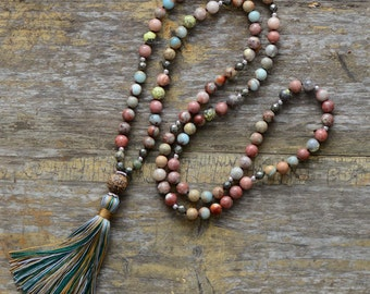 Mala Beads Natural Stone Tassel Necklace, Colorful Semi Precious Stone Beaded Necklace Handmade
