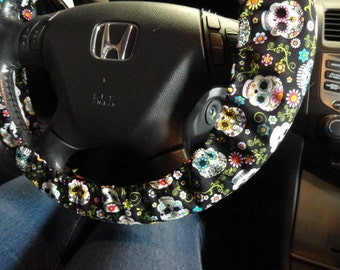 Sugar Skulls Steering Wheel Cover