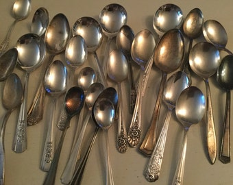 Collection of 20 craft quality silverplate spoons