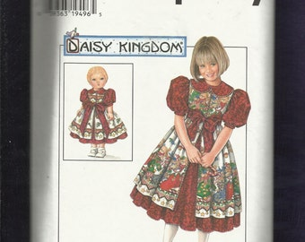 Simplicity 7349 Daisy Kingdom  Dress & Pinafore for Little Girls  Raised Waist and Matching Doll Dress  Sizes 3 TO 6 UNCUT