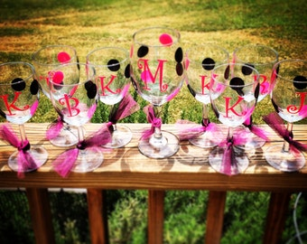 Set of 5 - Personalized Bachelorette Wine Glasses