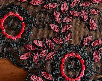 6 Red black vintage lace trim neckline pieces