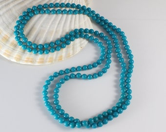 1960s Long Small Round Smooth Popper Beads Turquoise Green Blue Beaded Plastic Bead Necklace