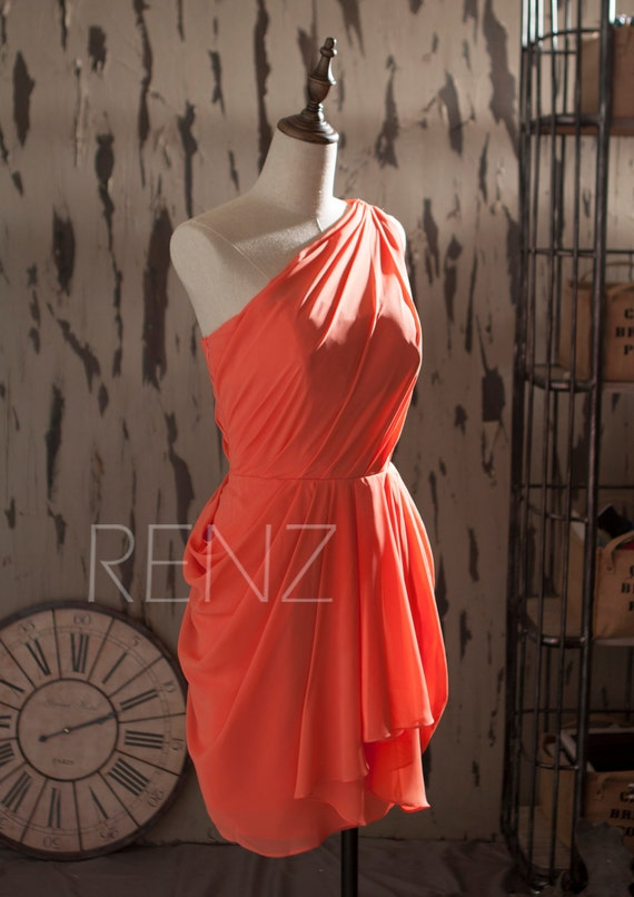 Corall One Shoulder Short Formal Dresses