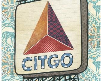 Boston Citgo Sign -  Cut Paper Print FREE SHIPPING