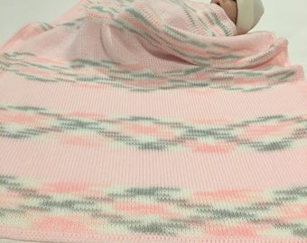 Knitted baby blanket-Personalized baby blanket-Baby blanket-Knit baby blanket-Crochet baby blanket-Pink baby blanket-Girl baby blanket