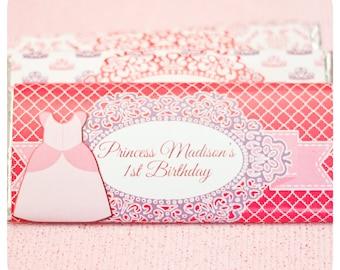Princess birthday party; Princess; Princess Party; Princess Birthday Party Favor; Princess party candy bar wrappers printed, cut, and ship
